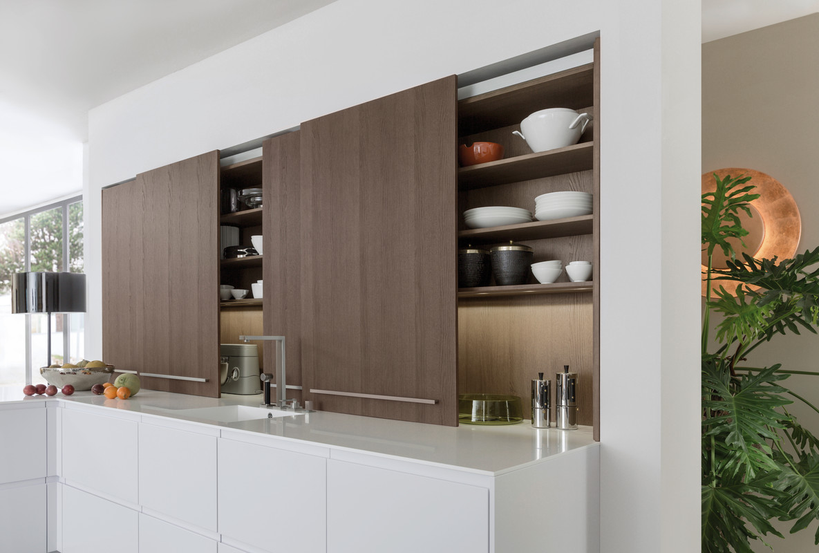 Раздвижные фасады на кухне