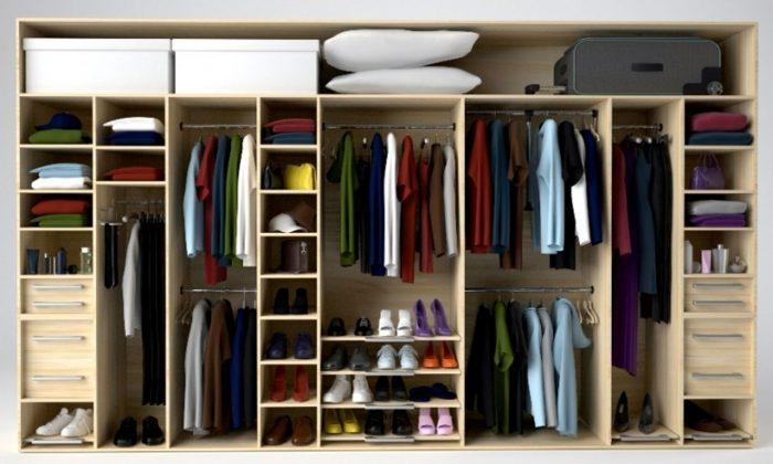 Внутреннее убранство шкафа купе