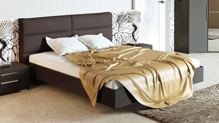 двуспальная кровать мягкое изголовье