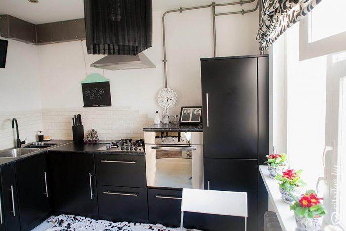 интерьер кухня без верхних шкафов