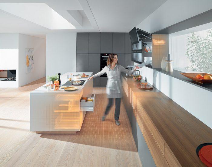 современная кухня без ручек