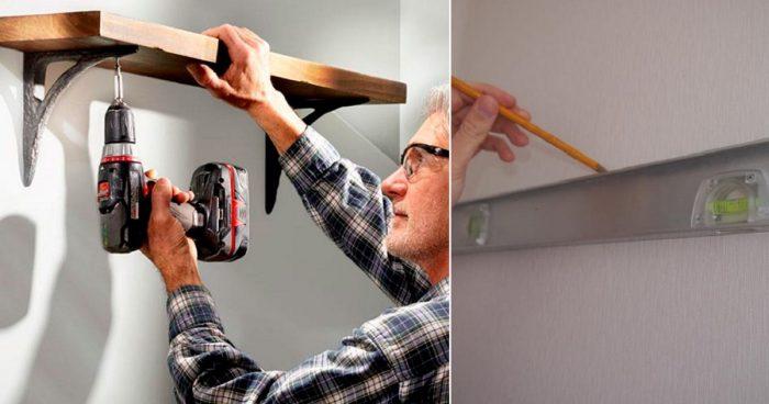 как можно повесить полку на стену