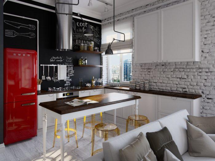 интерьер лофт кухня
