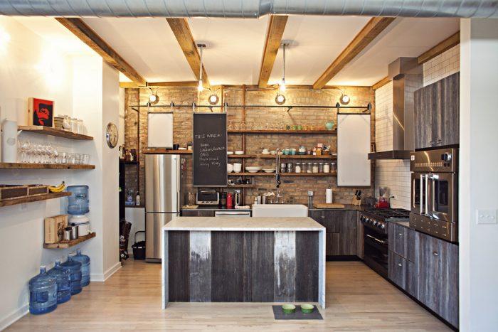 маленькая кухня стиль лофт