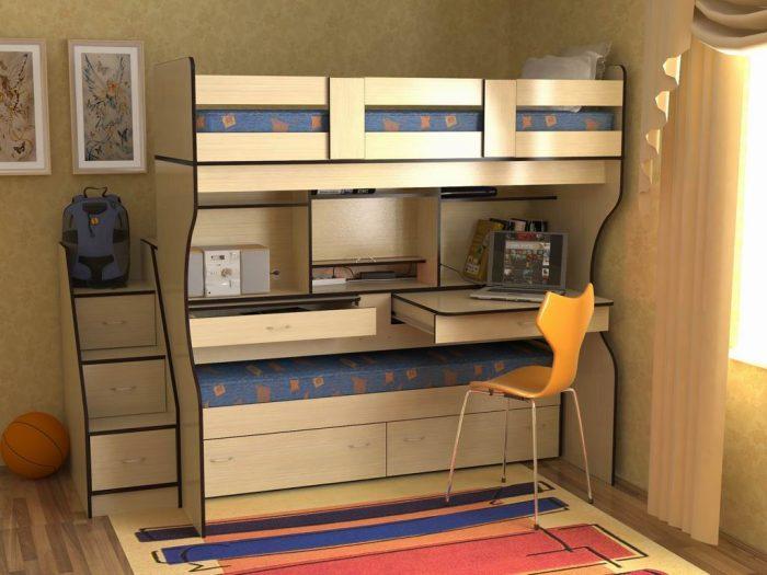 кровать и стол двухъярусная