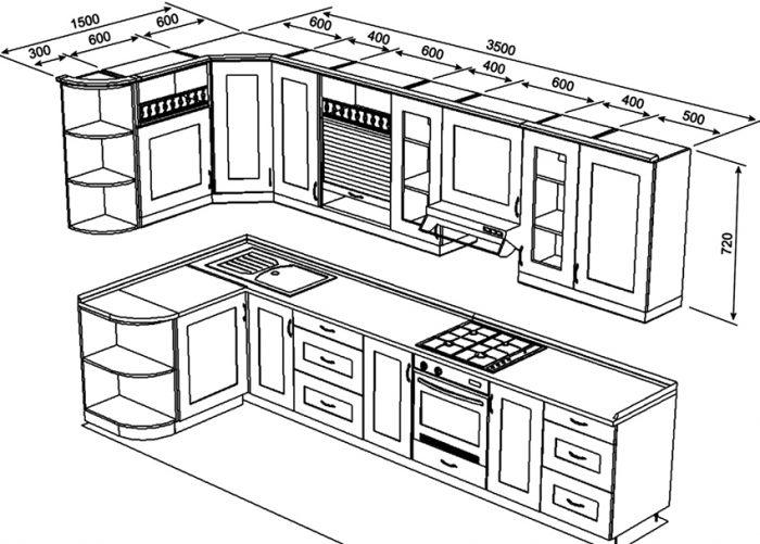 выбрать размер кухни