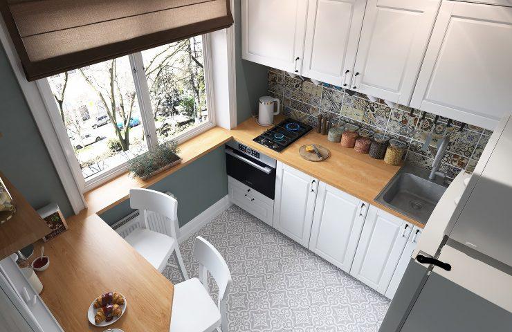 кухня маленькая встроенная