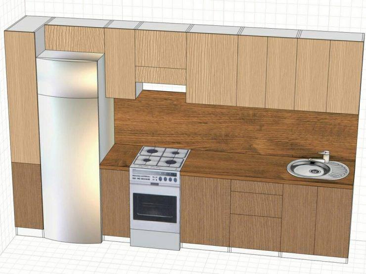 холодильник прямая кухня